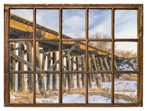 Window view - old railroad trestle Royalty Free Stock Images