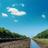 Old railroad under deep blue sky Royalty Free Stock Image