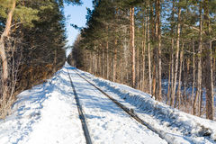 Old railroad in winter Royalty Free Stock Photo