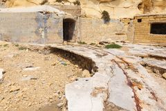 Old rails in the Fort Tigne (Sliema) Royalty Free Stock Images