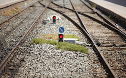 Old rails and traffic lights Stock Photos