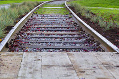 Old rails in yard Royalty Free Stock Images