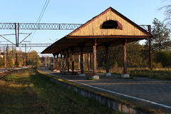 Old railstation. Old wooden Train station in Ustka, Poland Royalty Free Stock Images