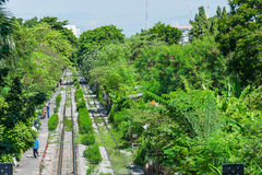 Old railway across Thailand countryside in top view Stock Image