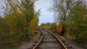 The old railway is among the autumn trees. The old abandoned railway among the autumn trees. Industrial landscape stock video
