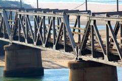 Old Railway Bridge Crossing Lagoon Royalty Free Stock Photography