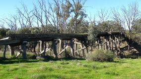 Old railway bridge. Crossing Merran Creek near Balranald, New South Wales, Australia Stock Photos