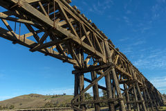 Old railway bridge. The old railway bridge crossing the Murrumbidgee River at Gundagai New South Wales. Now disused and in a bad state of repair. In winter late Royalty Free Stock Photography
