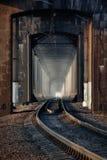 Old railway bridge. Kryukovsky railway bridge across the Dnieper River in Kremenchug Stock Photo