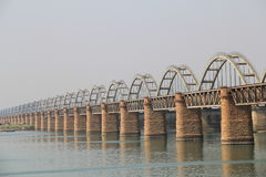 Old Railway bridge and new bridge side view on Godavari River. Old Royalty Free Stock Images