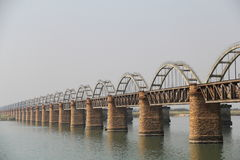 Old Railway bridge and new bridge side view on Godavari River. Old Stock Photography
