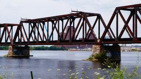Old Railway Bridge in Ottawa royalty free stock photos