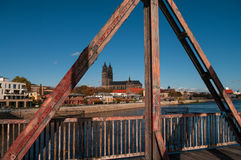 Old Railway Bridge over the Elbe in Magdeburg, Germany Royalty Free Stock Photography