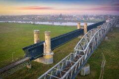 Free Old Railway Bridge Over Vistula River In Tczew At Sunrise, Poland Stock Images - 201659994