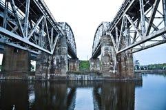 Old railway bridge on the river dual. Old railway bridge on the river dual Royalty Free Stock Photo