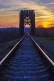 The old railway bridge at sunset Stock Photography