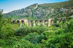 Old railway bridge viaduct in the Spain.  Royalty Free Stock Photos