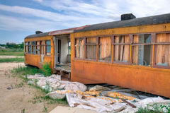Old Railway Car. An Old Abandoned Railway Car Covered in Orange Rust stock image