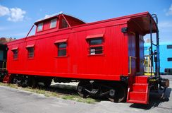 Old railway car in red color Stock Images