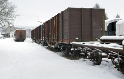 Old railway car at winter time Royalty Free Stock Photography