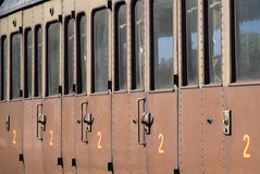 Old railway carriage. Close up of the old railway carriage Stock Images