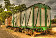 Old railway carriage stock car at platform stock photography