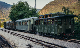 Old railway cars. Mokra Gora, Serbia - August 28, 2015. Old railway carriages on Mokra Gora station in Serbia Stock Image