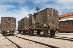Old railway cars. Stand on the track Stock Image
