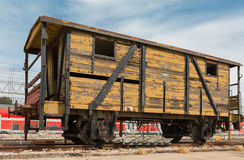 Old railway cars. Stand on the track Stock Photos