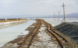 Old Railway in Chaka Salt Lake Stock Photography