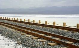 Old Railway in Chaka Salt Lake Stock Photos