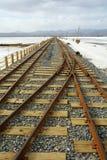 Old Railway in Chaka Salt Lake Stock Photo