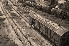 Old railway cisterns, wagon, lines. Old railway wagon, cisterns, lines, retro sepia color royalty free stock photos