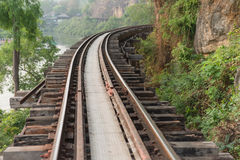 Old Railway. The curve of the rail along the cliffs Royalty Free Stock Photography