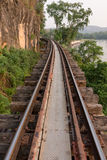 Old Railway. The curve of the rail along the cliffs Stock Images