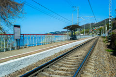Old railway electric train station in Sochi, Russia Royalty Free Stock Photography
