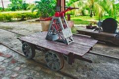 Old railway handcar pump trolley Stock Photography