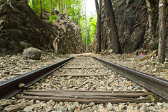 Old railway at the hellfire pass Burma-Thailand. It was constructed during the world war II ,Kanchanaburi Thailand Royalty Free Stock Photos