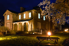 Old Railway Hotel at night and cherry blossom Royalty Free Stock Photography
