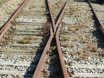 Old railway junction. Old not used railroad junction Stock Images