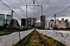 Old Railway over the Lapa Arch in Rio de Janeiro. Road to the city downtown Stock Photos