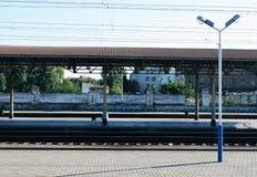 Old railway platform and lantern Royalty Free Stock Image