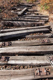 Old railway, railroad, rail track , abandoned, destroyed and overgrown wood Stock Images