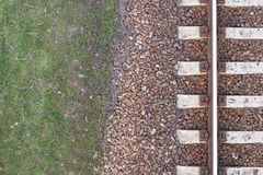 Old railway rails, train tracks texture, top view, background. Stock Image