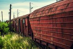 Old railway red  wagon Stock Photo