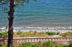 The old railway and sea Royalty Free Stock Photography