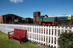 Old railway sidings with locomotives Stock Photo