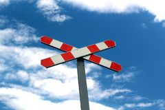 Old railway sign in the blue sky royalty free stock image