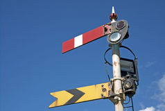 Old railway signal. From the steam era, isolated against a blue sky stock photos