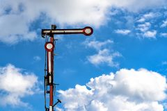 Old railway signal. On an abandoned railway track giving the signal stop Royalty Free Stock Photos